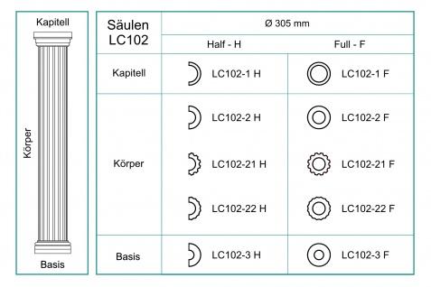 Säulen Halbsäule Fassade rund stabil Stuck Dekor Set Auswahl EPS 305mm LC102 - Vorschau 5