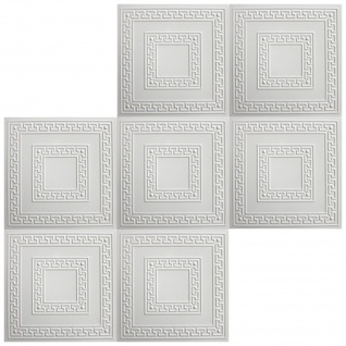 1 qm Deckenplatten Polystyrolplatten Stuck Decke Dekor Platten 50x50cm Nr.23 - Vorschau 3