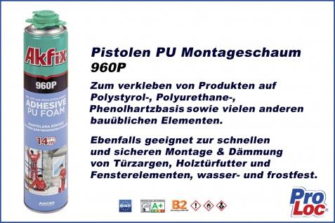 1 Dose Bauschaum Montageschaum B2 Klebeschaum Pistolenschaum Kleber Profi Akfix 960P - Vorschau 2