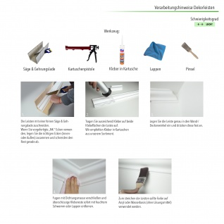 Stuckleisten Zierleisten Eckleisten stabil XPS Sparpaket Marbet 115x75mm E-37 - Vorschau 5