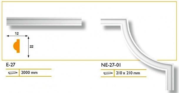 1 Set Segmente Bögen für Flachleiste E-27 Stuck Marbet Design NE-27-01 - Vorschau 3