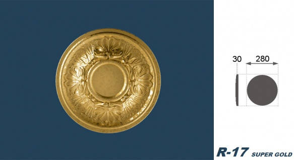 1 Rosette | Decke Stuck Innendekor EPS Dekor Marbet Durchmesser 28cm R-17 - Vorschau 5