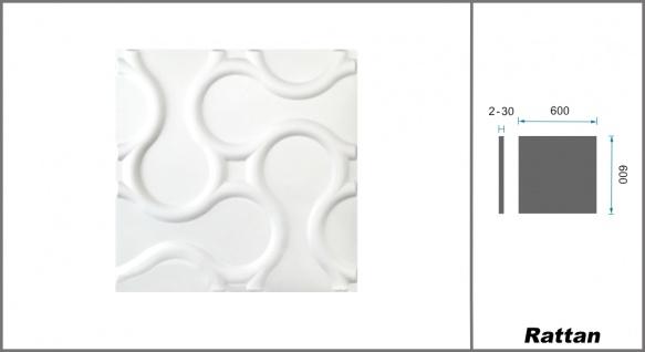 1 qm 3D Platten Natur Stuck ökologisch Paneele 3D Elite Panels 60x60cm Rattan - Vorschau 2