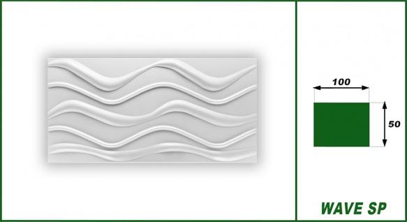 1 qm 3D Paneele Wand Decke Verkleidung Wandplatten Sparpaket 100x50cm Hexim Wave SP - Vorschau 2