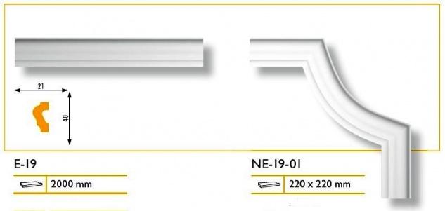 1 Set Segmente Bögen für Flachleiste E-19 Stuck Marbet Design NE-19-01 - Vorschau 3