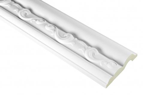 2 Meter | PU Flachleiste Profil Innen Dekor stoßfest | Hexim | 80x24mm | FH9434