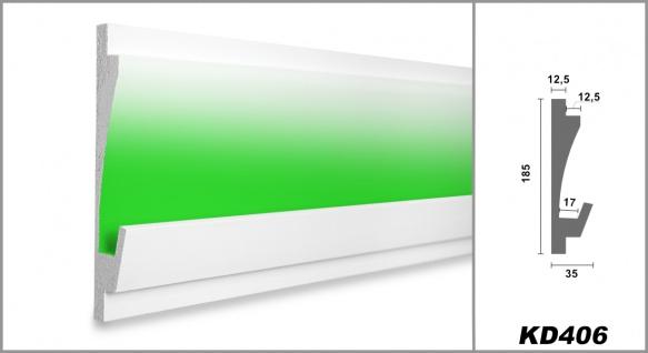 1, 15 Meter LED Profil XPS Stuck Trockenbau Tesori 185x35mm KD406 - Vorschau 2