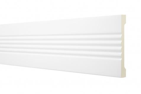 2 Meter Flachleiste 115x20mm - Stuckleiste aus PU glatt, stoßfest - Perfect AD356
