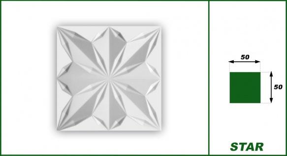 3D Wandpaneele Styroporplatten Wandverkleidung Wanddekor Paneele Star 1 qm - Vorschau 2