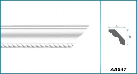 2 Meter Zierprofil 52x52mm - Stuckleiste aus PU gemustert, stoßfest - Perfect AA047 - Vorschau 2