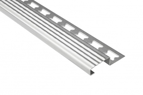 Treppenkantenprofil 10mm | Edelstahlschienen - silber gebürstet | EST Sparpaket