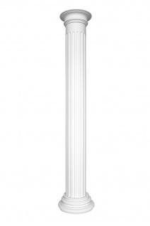 Säulen Halbsäulen rund kanneliert Komplett Stuck Barock PU Auswahl 240mm N3324