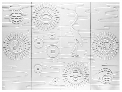 4 Ornamente für Decke und Wand | PU | stoßfest | Hexim | 120x160cm | FR8894