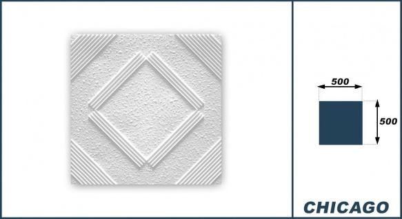 1 qm Deckenplatten Polystyrolplatten Stuck Decke Dekor Platten 50x50cm Chicago - Vorschau 3