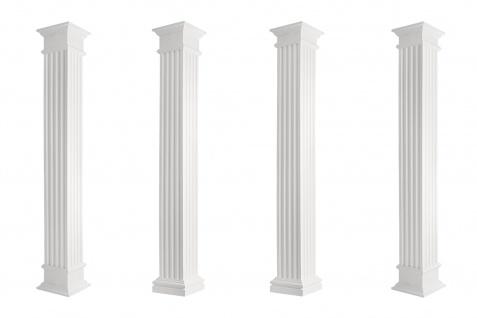 Säulen eckig Fassade kanneliert robust Stuck Set Auswahl versch. Größen LC