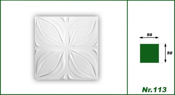 1 qm Deckenplatten Polystyrolplatten Stuck Decke Dekor Platten 50x50cm Nr.113 - Vorschau 2
