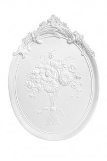 Wandrelief Ornament Stuck Dekor Wandbild Garten Barock Baummotiv weiß PU K4001