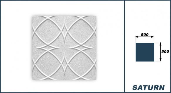 1 qm Deckenplatten Polystyrolplatten Stuck Decke Dekor Platten 50x50cm Saturn - Vorschau 3