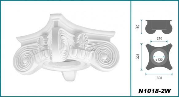 Säulen Halbsäulen rund kanneliert Komplett Stuck Barock PU Auswahl 180mm N3318 - Vorschau 4