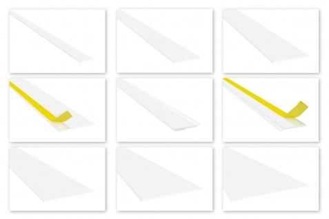 Flachleisten PVC weiß 2m - Standard 2mm, Auswahl Weichlippe & selbstklebend - HJ
