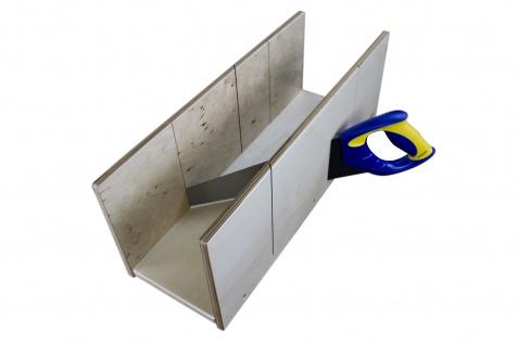 Gehrungslade mit Säge Sperrholz IRWIN-Säge Werkzeug Profi Marbet 19x49cm