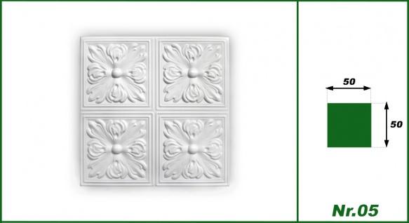1 qm Deckenplatten Polystyrolplatten Stuck Decke Dekor Platten 50x50cm Nr.05 - Vorschau 3