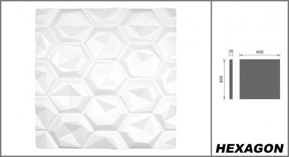 3D Wandpaneele Styroporplatten Wandverkleidung Wanddekor Verblender Hexagon Sparpaket - Vorschau 2