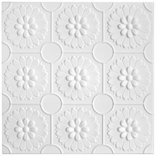 1 qm Deckenplatten Polystyrolplatten Stuck Decke Dekor Platten 50x50cm Nr.77