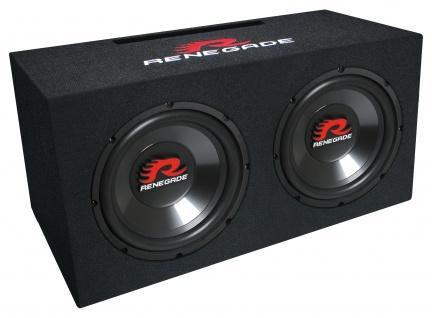 RENEGADE Subwoofer-Box RXV1002 2x 25cm 1000 Watt Doppelwoofer Auto Basskiste