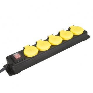 Feuchtraum Steckdosen Kombi 5-fach Steckdosenleiste Ein/Ausschalter schwarz gelb