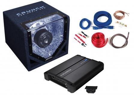 CRUNCH Basspaket 1-Kanal Endstufe Verstärker 20cm Subwoofer Kabelset CPX750.1
