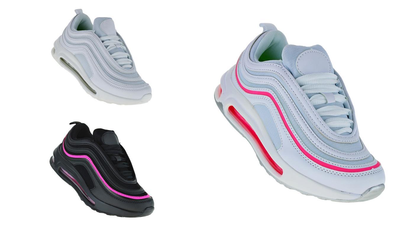 meet 52883 2a773 Neon Luftpolster Turnschuhe Schuhe Sneaker Sportschuhe Neu Damen 041