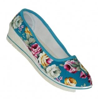 Art 630 Flowers Ballerinas Türkis Keilbabsatz Sneaker Slipper Mules Schuhe