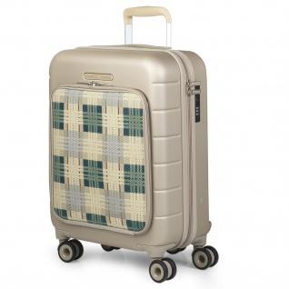 V&L Hartschale Reisekoffer 54 Cm ABS +Polyester Handgepäck 4 Räder Laptopfach TSA Hängeschloss 56250