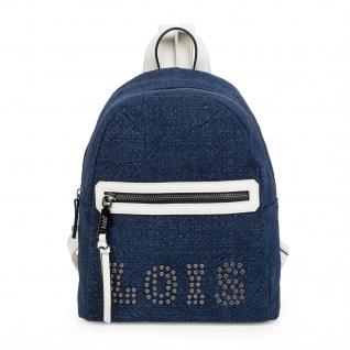 Lois Lässiges Rucksack Für Damen Leinen Und Kunstleder PU Tragetasche Backpack 301099 - Vorschau 4