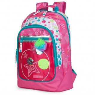 Schulrucksack Kinder Mädchen Gepolstert Polyester Stempeln. Pompon Und Pailletten Schlüsselbund.