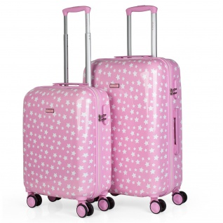 Itaca 2Er Hartschalen Kinder Kofferset Polycarbonat 4 Rollen Bedruckt Reisekoffer Klein- Und Mitllere Koffer 702400
