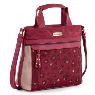 Schultertasche Handtasche Für Frau. Doppelter Griff Und Verstellbarer Schultergurt. Eco Leder Und Nylon. Blumenstickerei 308741