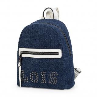Lois Lässiges Rucksack Für Damen Leinen Und Kunstleder PU Tragetasche Backpack 301099