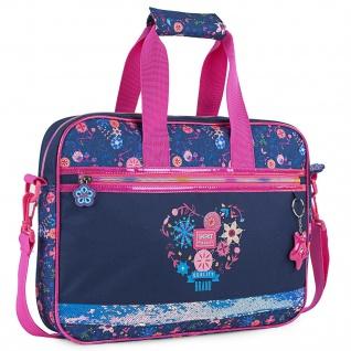 Brieftasche Für Kinder Mädchen Blumendruck Mit Glitzer. Außerschulische Aktentasche. Notebooks Und Laptop. Angenehmes Licht Und Widerstandsfähig. Qualität 131506