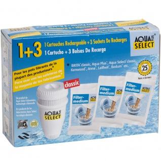 "Aqua Select 1 Mehrweg, befüllbare Wasserfiilterpatrone ""Classic"" + 3 Öko Refill Granulat-Nachfüllbeutel"