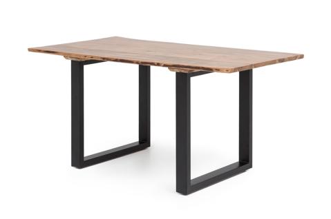 Esstisch mit Baumkantenoptik mit schwarzen Gestell A00000323