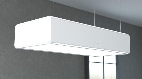 SILVERLINE Lightline, Randabsaugung - Liftfunktion - Umlufthaube, 120 cm, Weiß / Weißsglas LLUD 120 W
