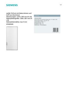 Siemens KF40ZAX0 weiße Türfront mit Dekorrahmen und Griff aus Aluminium - Vorschau 2