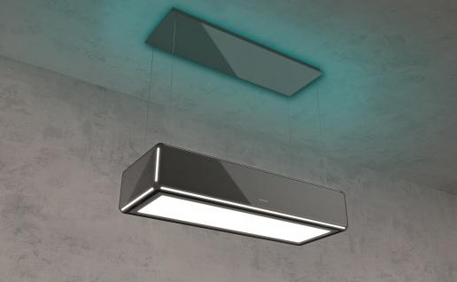 SILVERLINE Lightline, Randabsaugung - Liftfunktion - Umlufthaube, 120 cm, Schwarz / Schwarzglas LLUD 120 S