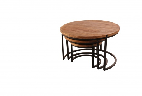 A&K 10.000 Home Collection Lisa Wohnzimmertisch 3er Set Mangoholz Stahl Rund