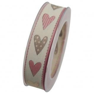 Schleifenband mit Drahtkante HERZEN (1m=0, 53 EUR) 20m Rolle creme rosa Goldina W