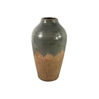Deko Vase CARLLETTA M H. 45, 5cm D. 25, 5cm grau braun Keramik rund Decostar WA