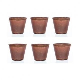 6er SET Teelichthalter VINTAGE terracotta Glas H 8cm Ø 9cm Sandra Rich