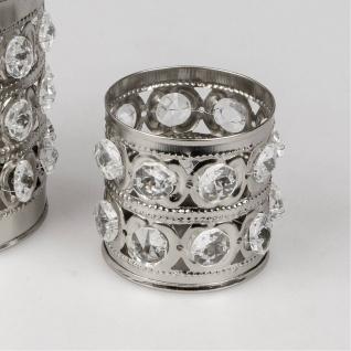 Teelichthalter RHINESTONES rund H. 6cm mit Strass silber Metall Formano